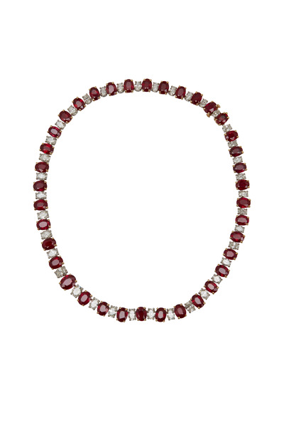 Oscar Heyman - Platinum Ruby & Diamond Necklace