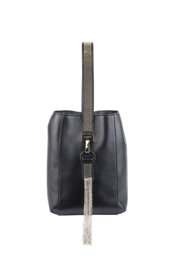 Lanvin Black Leather Chain Wristlet Bag