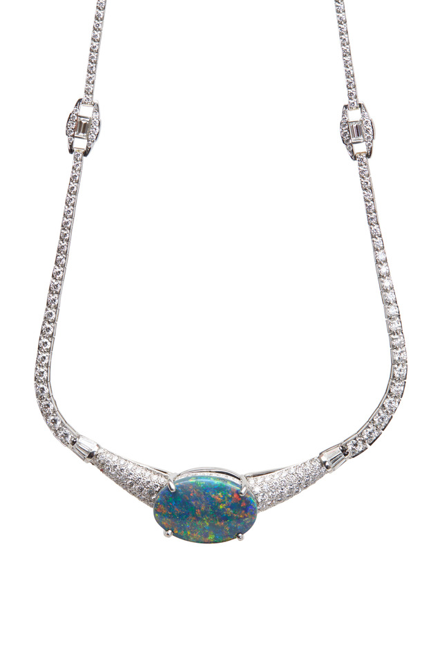 Platinum Opal Diamond Necklace