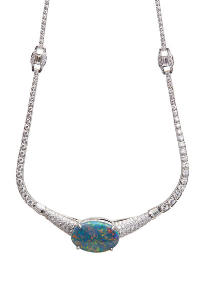 Oscar Heyman - Platinum Opal Diamond Necklace