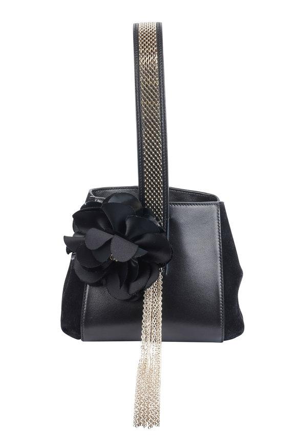 Lanvin Black Leather Jeweled Floral Chain Wristlet Bag