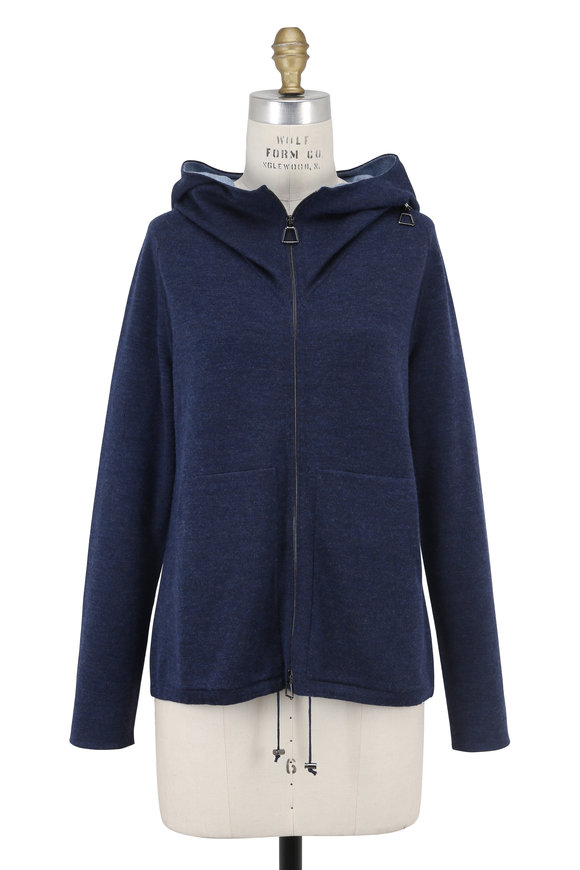 Akris Denim Cashmere Reversible Funnel Neck Hoodie
