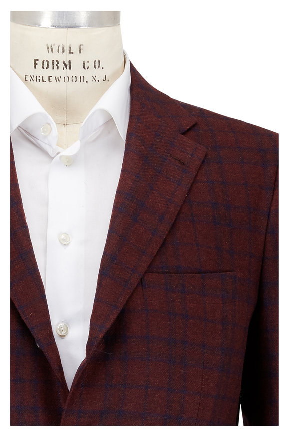 Kiton Dark Red & Blue Check Cashmere Sportcoat