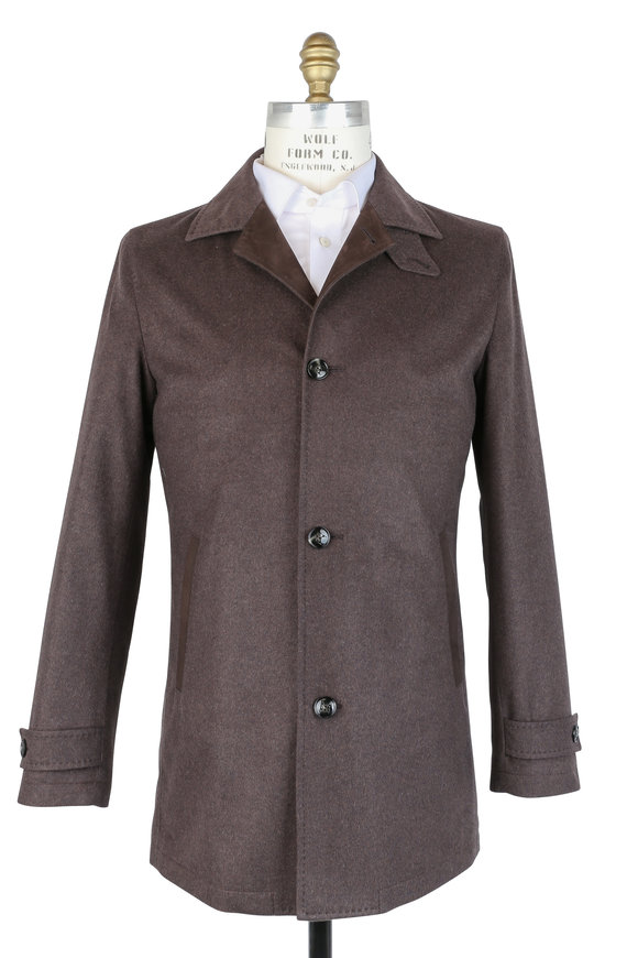 Kiton Brown Silk & Cashmere Waterproof Coat