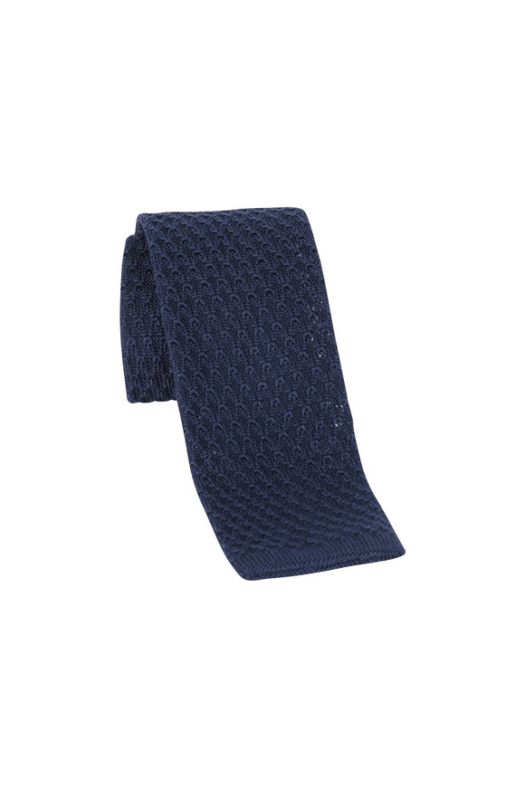 Brioni Navy Blue Silk Knit Necktie