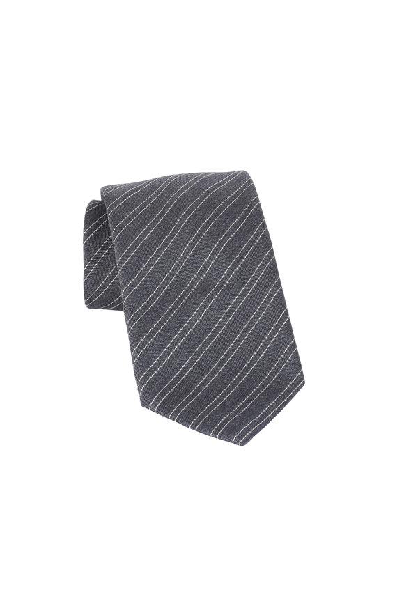 Brioni Gray Striped Wool & Silk Necktie