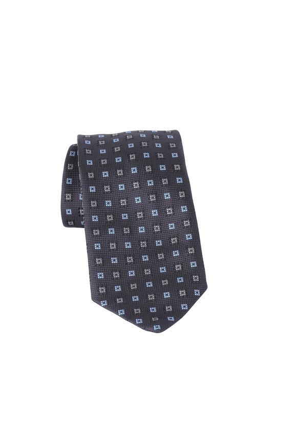 Brioni Gray Geometric Silk Necktie