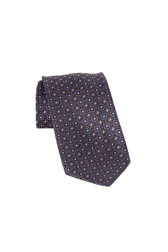 Brioni Navy Blue Geometric Silk Necktie