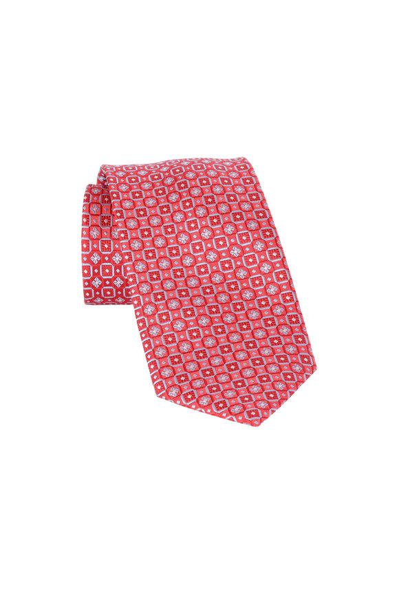 Brioni Red Geometric Silk Necktie