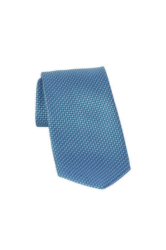 Brioni Blue Textured Silk Necktie