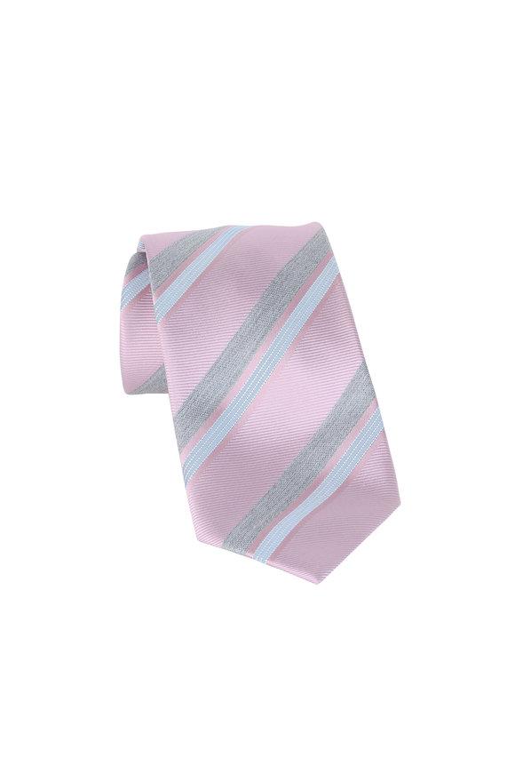 Brioni Pink & Gray Striped Silk Necktie