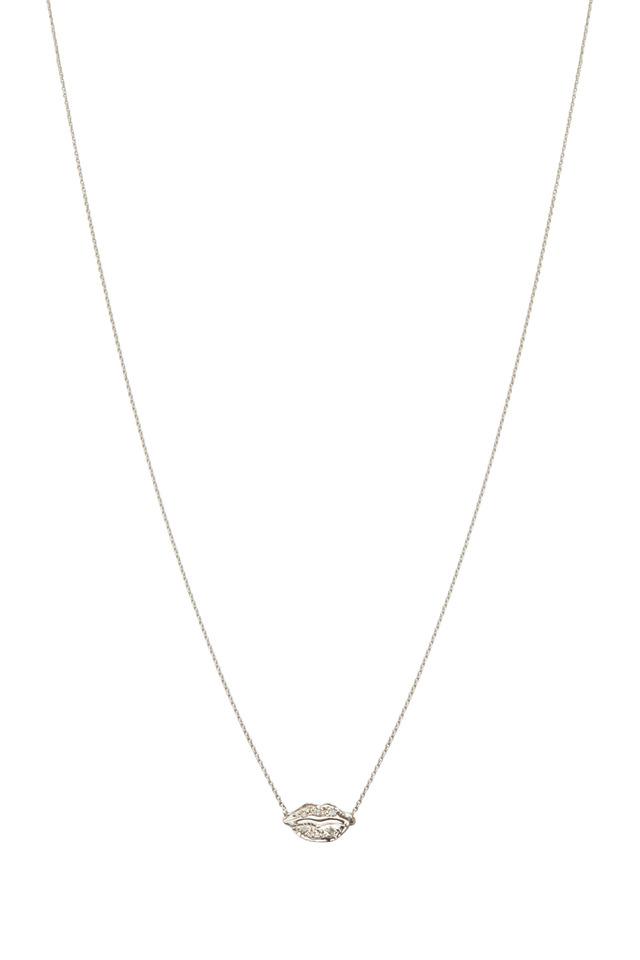 White Gold Pavé-Set Diamond Lips Necklace
