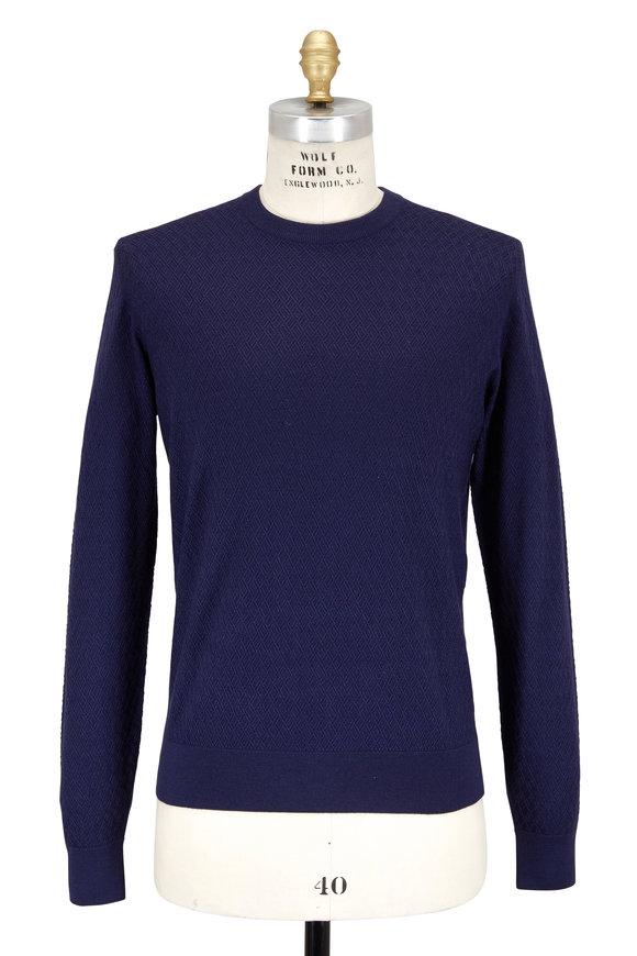 Luciano Barbera Blue Diamond Weave Crewneck Sweater