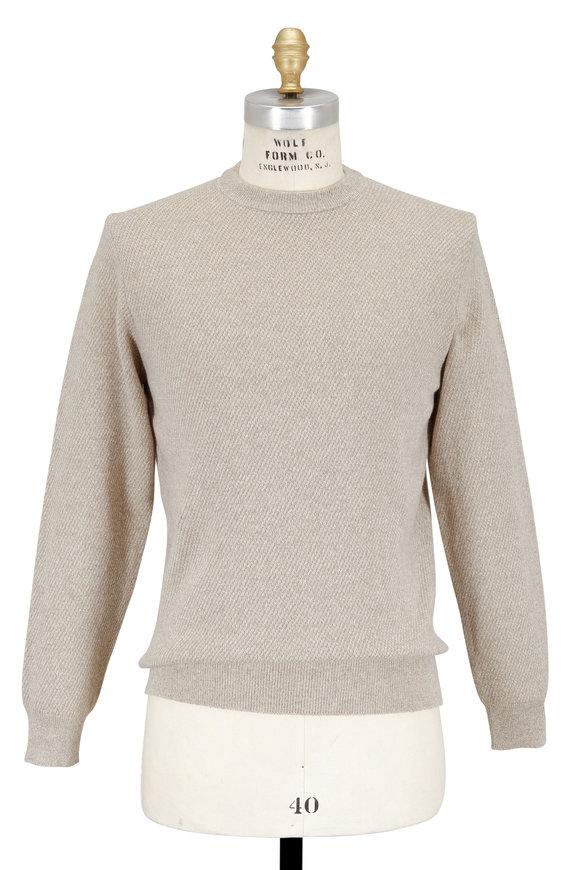 Luciano Barbera Oatmeal Broken Stitch Crewneck Sweater