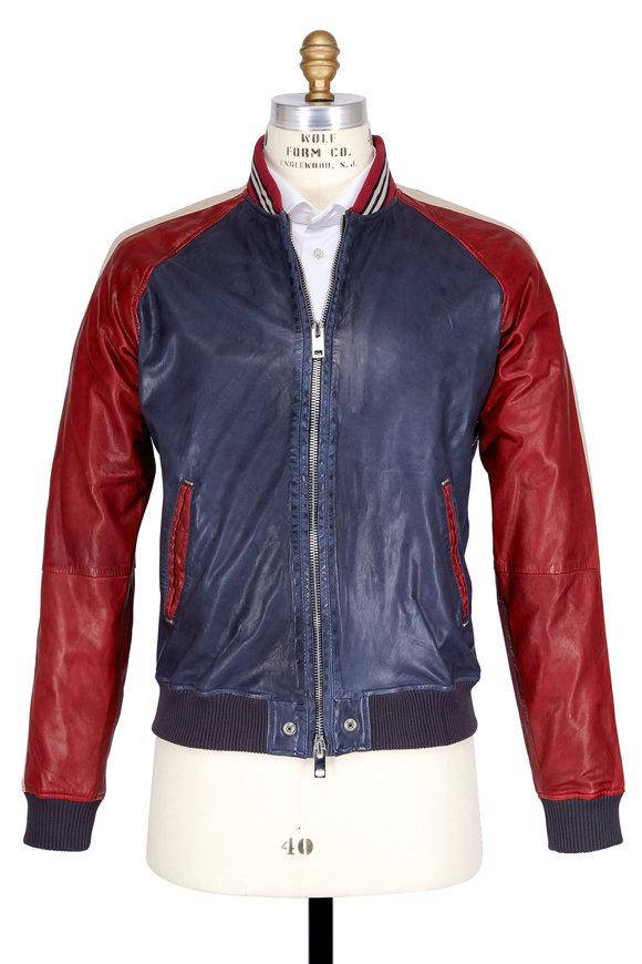 Diesel L-Truly Blue & Red Leather Motorcycle Jacket