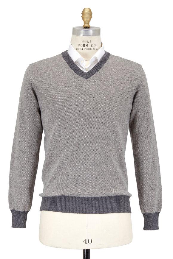 Luciano Barbera Stone Gray Cashmere V-Neckline Sweater