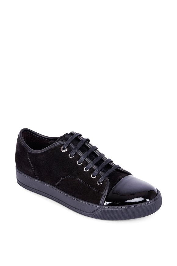 Lanvin Black Suede & Patent Leather Cap-Toe Sneaker
