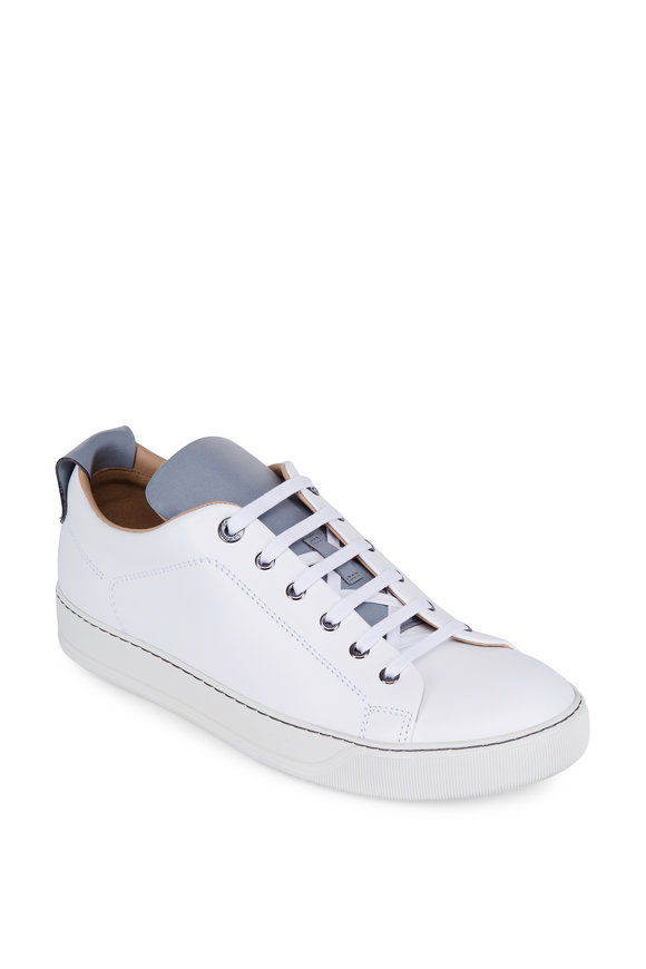 Lanvin White & Silver Leather Reflective Sneaker