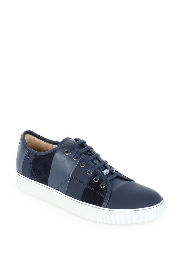 Lanvin Navy Blue Leather & Suede Tonal Striped Sneaker