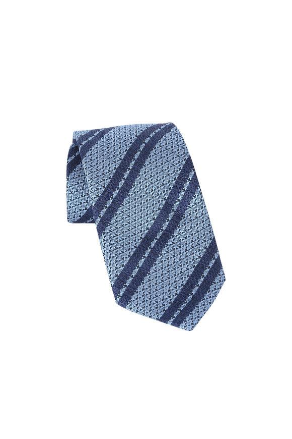 Ermenegildo Zegna Blue Striped Silk Necktie