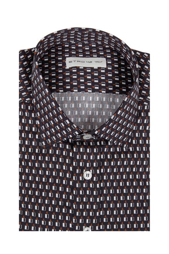 Etro Black Geometric Print Sport Shirt