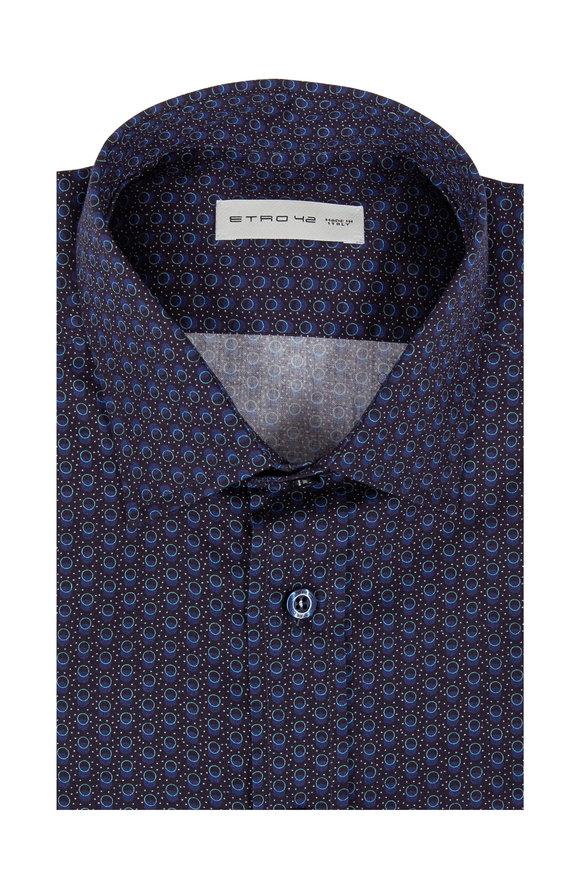 Etro Navy Blue Geometric Print Sport Shirt