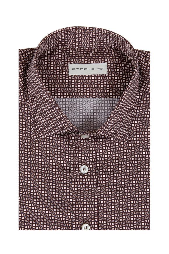 Etro Brown & Black Geometric Print Sport Shirt