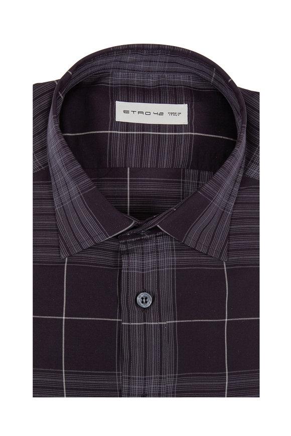 Etro Black & Grey Plaid Sport Shirt