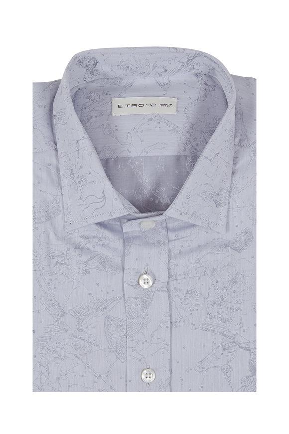 Etro Light Grey Abstract Print Sport Shirt