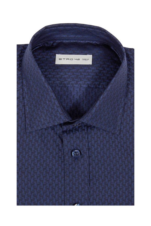 Etro Navy Blue Penguin Print Sport Shirt