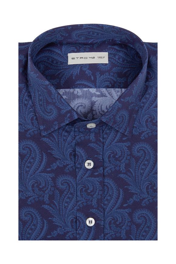 Etro Navy Blue Paisley Print Sport Shirt