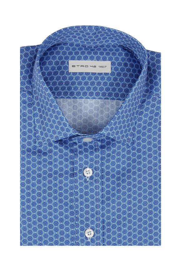 Etro Blue Geometric Print Sport Shirt