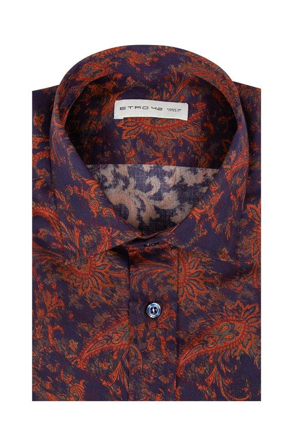 Etro Purple & Orange Paisley Print Sport Shirt