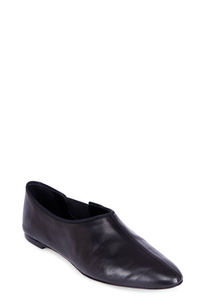 The Row - Cara Black Leather & Elastic Inset Shootie