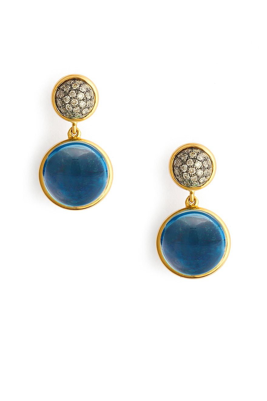 Longdon Blue Topaz Big Baubles Earrings with Champagne Diamonds