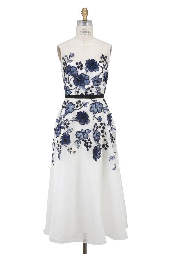 Lela Rose White Organza Floral Embellished Dress