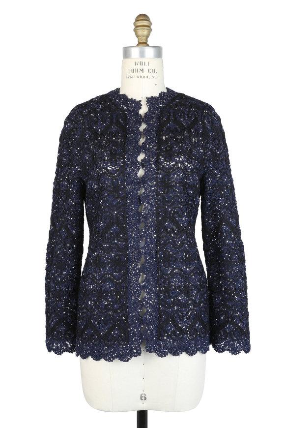 Oscar de la Renta Black & Blue Wool & Silk Pailette Jacket