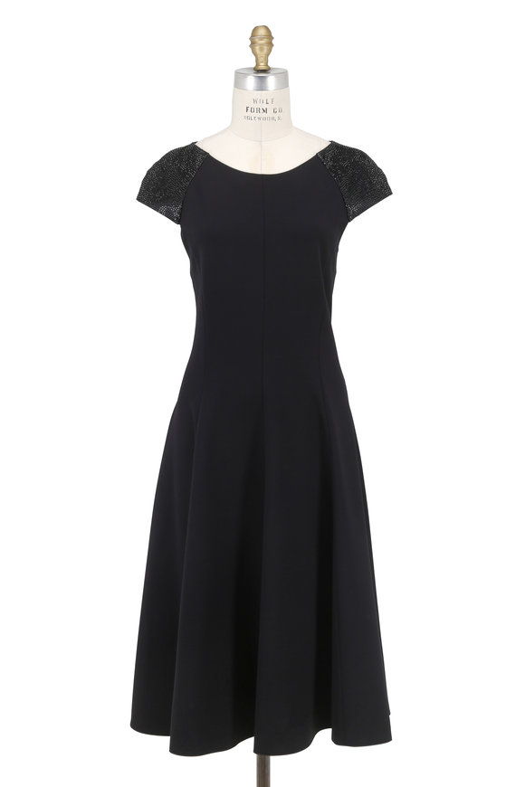 Armani Collezioni Black Stretch Jersey Embellished Cap Sleeve Dress