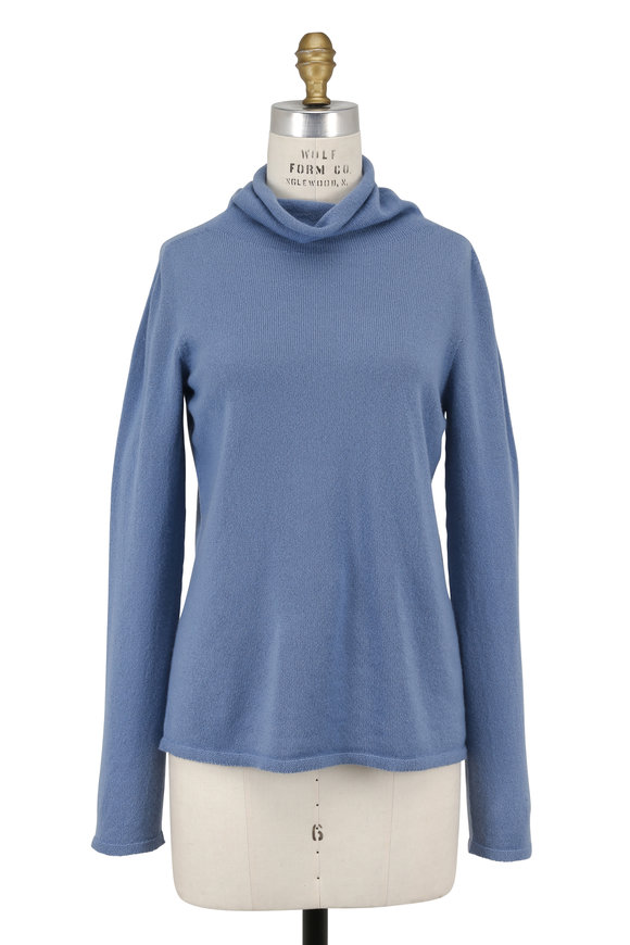 Armani Collezioni Cloud Blue Cashmere Turtleneck Sweater