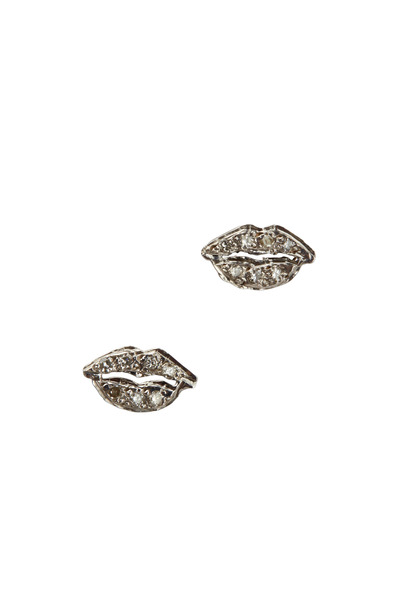 Tulah Jem - White Gold Pavé-Set Diamond Lips Stud Earrings