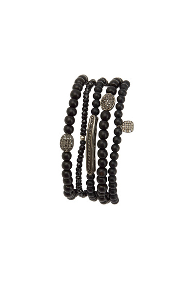 Tulah Jem - Sterling Silver Black Diamond Beaded Bracelet