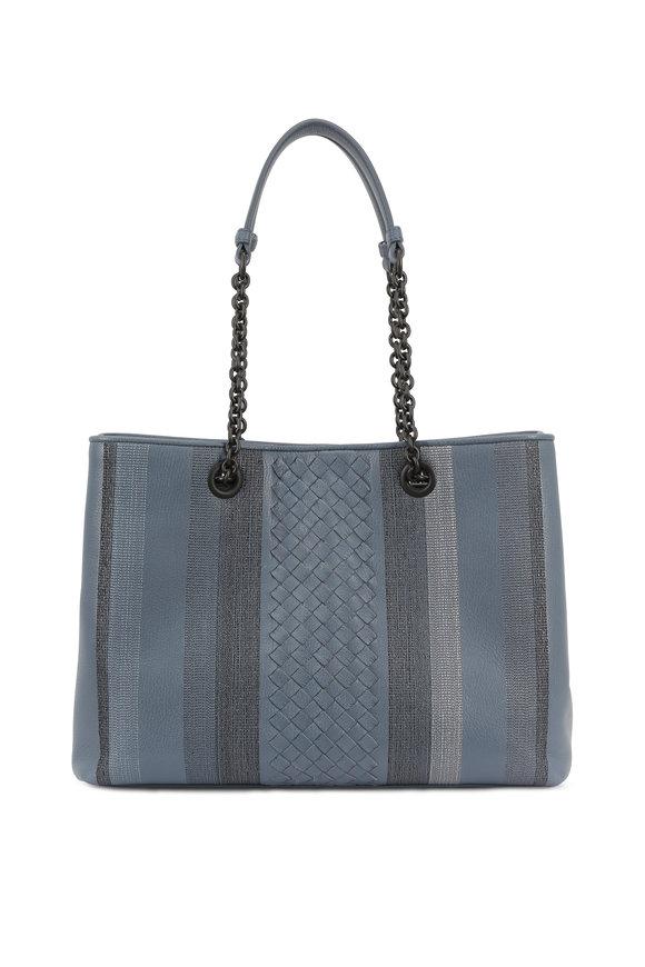 Bottega Veneta Blue Leather & Metallic Intrecciato Tote