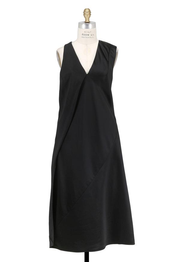 Victoria Beckham Black Silk & Satin Knotted Sleeveless Midi Dress