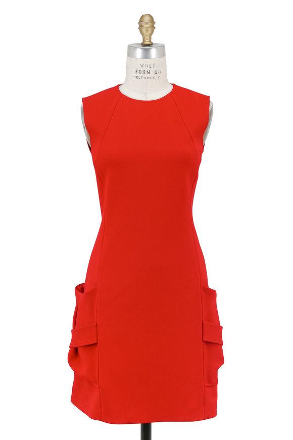 Victoria Beckham Red Crepe Pleat Pocket Mini Dress