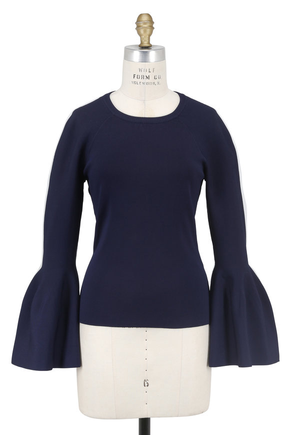 Jonathan Simkhai Navy Blue Knit Bell Sleeve Top