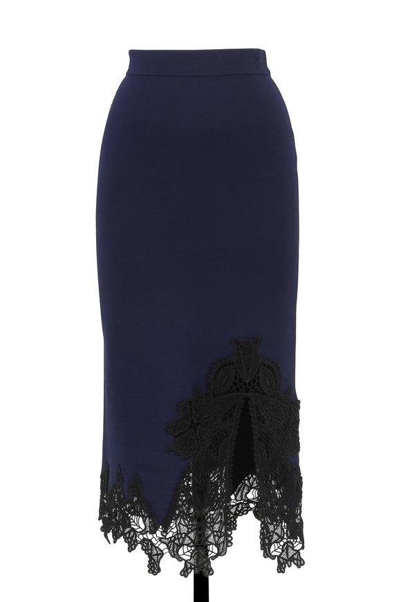 Jonathan Simkhai Navy Ribbed Knit Lace Appliqué Pencil Skirt