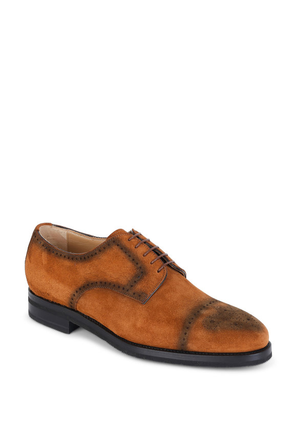 Kiton Tan Classic Suede Wingtip Oxford