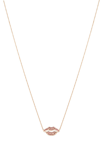 Tulah Jem - Rose Gold Large Ruby Lips Necklace