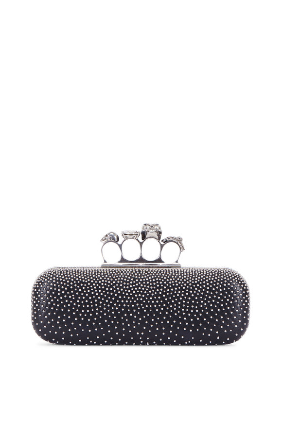 Alexander McQueen Black Leather Swarovski Studded Knuckle Clutch
