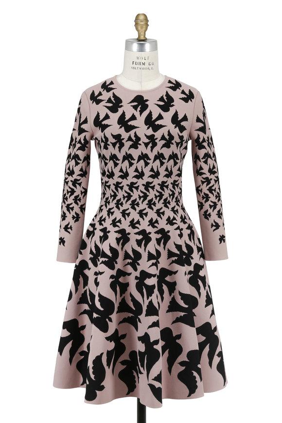 Alexander McQueen Pink & Black Bird Print Fit To Flare Dress